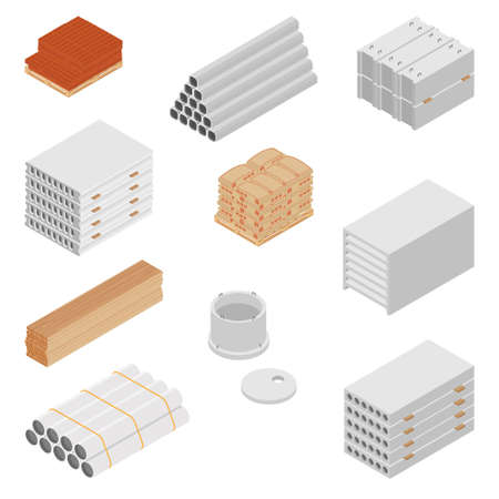 Building and construction materials raster icon set isometric view isolated on white background.