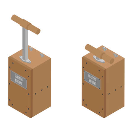Detonator boxes. Blasting Machine isolated on white background. Caution explosive. Detonator plunger boxes push up and down