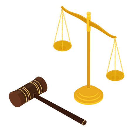 Judge s gavel and justice scales. Constitutional crisis. Justice concept. Isometric view. raster