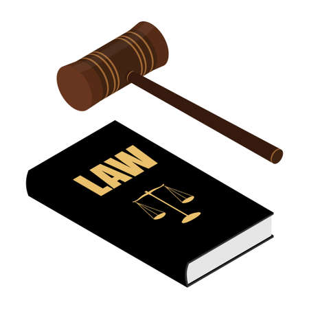 Judge s gavel and law books. Constitutional crisis. Isometric view. raster