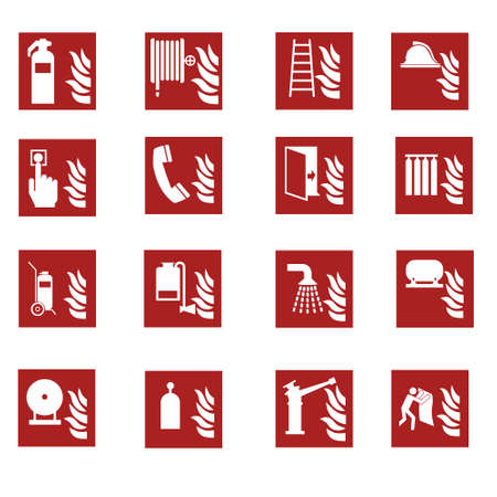 Red fire emergency sign collection