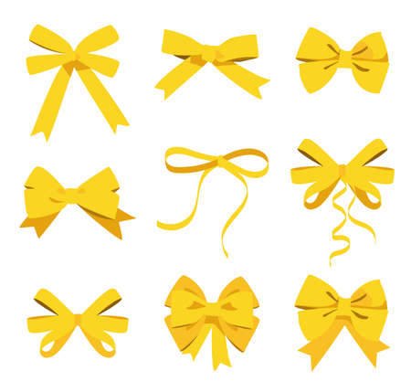 Gold bow set. Cartoon raster yellow ribbons satin bows for xmas gifts, present cards and luxury wrap pack isolated on white background 版權商用圖片