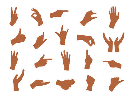 Gesturing hands. Hand with counting gestures, forefinger sign. Open arm showing signal and handshake, interactive communication set