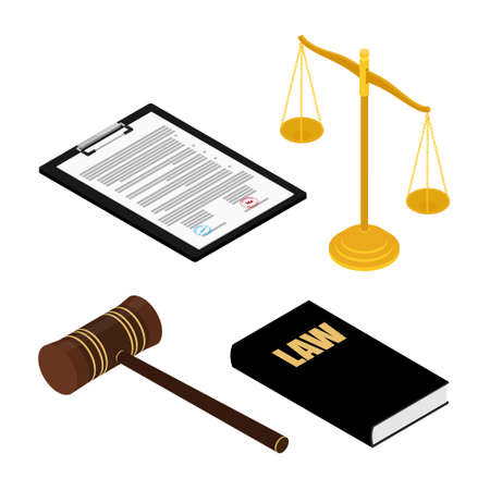 Judge s gavel, justice scales, law books and document on clipboard. Constitutional crisis. Isometric view. raster