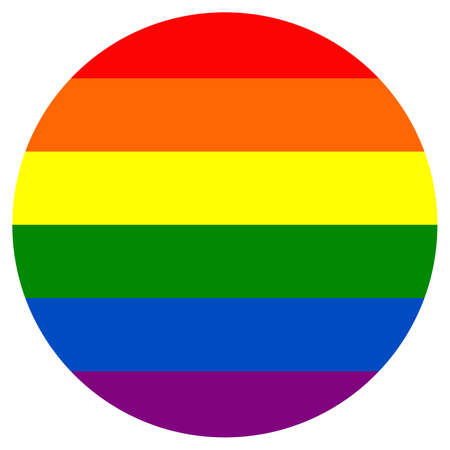 Round rainbow flag movement lgbt, flat icon. Symbol of sexual minorities, gays and lesbians.