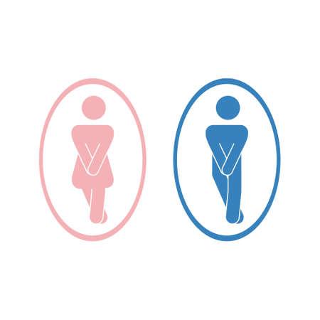 Girls and boys restroom pictograms. Funny toilet couple signing, desperate pee woman man wc icons. Fun bathroom door signs. Humor public washroom urgent raster silhouettes Foto de archivo