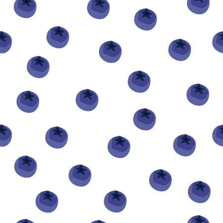 Blueberry vector seamless pattern. Natural fresh ripe tasty blueberries on white. Seamless background. Vector illustration, eps. For backgrounds, packaging, textile and various other designs.