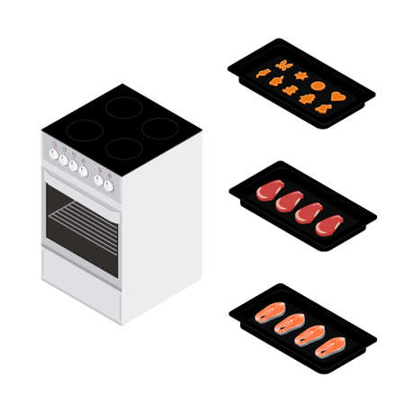Set of various plates, forms of food and kitchen stove isolated on white background. Delicious salmon fish fillets, meat beef steaks and cookies in baking form for restaurants menu design. Isometric view. Vector
