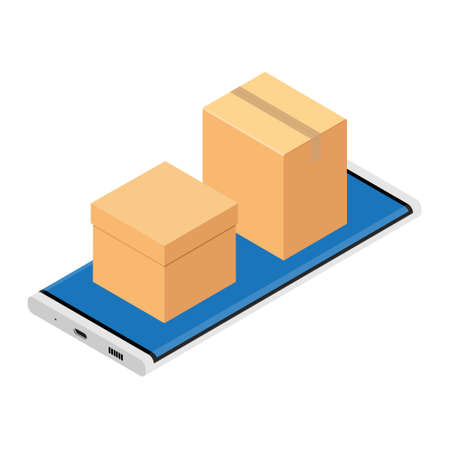 Cardboard boxes on smartphone screen. Delivery concept. Vector illustration. Isometric view Vectores