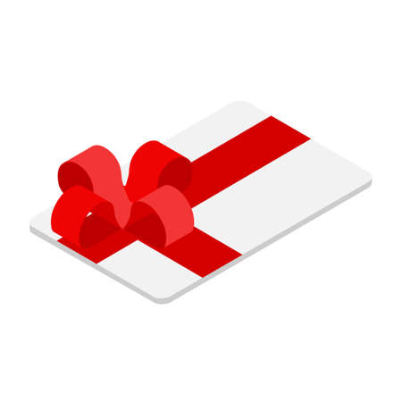 Gift Card With Red Bow And Ribbon. Vector Illustration. Gift Or Credit Card Design Template. Coupon, voucher, certificate, invitation, currency Illustration