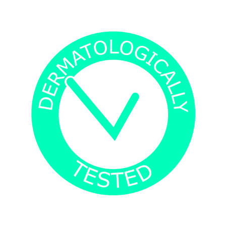 Dermatologically tested vector label with check mark  . Dermatology test and dermatologist clinically proven icon for allergy free and healthy safe product package tag
