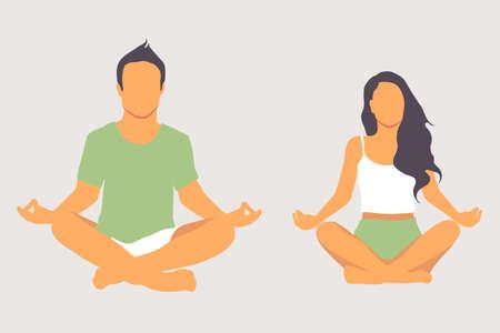 Calm couple meditating, sitting on lotus pose at home. Yoga concept.