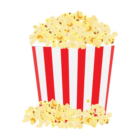 Paper cup with popcorn. Striped popcorn cardboard bucket. Vector