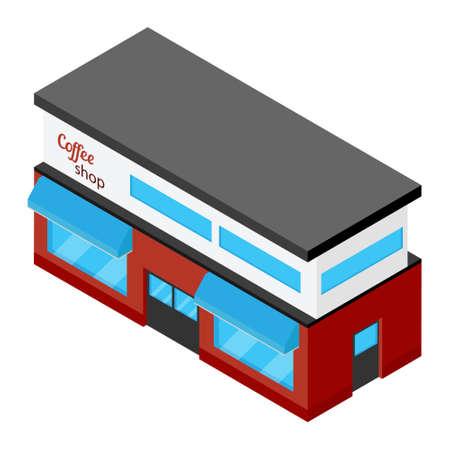 Street Cafe. Coffeeshop. City cafe. Urban spring summer landscape. Isometric design concept. Vector illustration Vectores