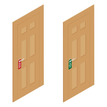 Hotel doors with hangers please make up room and please do not disturb isometric view