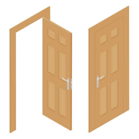 Set of different wooden door isolated on white background. Vector. Isometric view Vectores