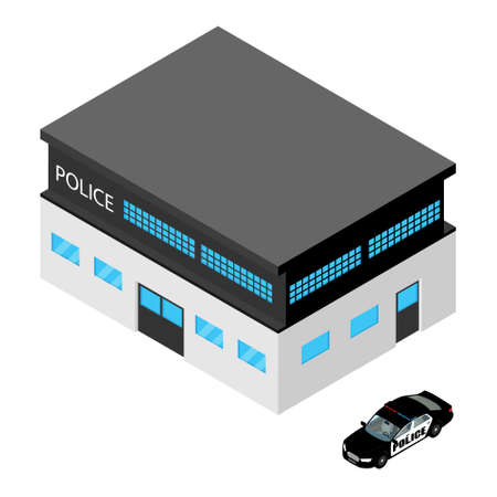 City police station department building and police car. Isometric view. Vector