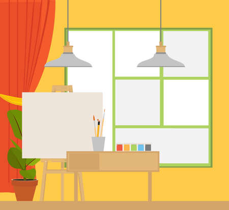Art studio interior. Creative workshop room with canvas, paints, brushes, easel and pictures. Design salon for artists. Flat style vector illustration. Vectores