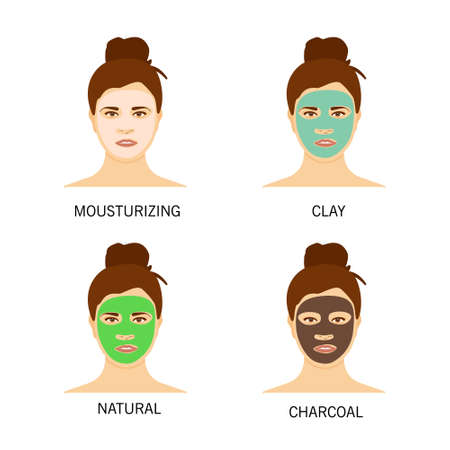 Different types of facial masks and skin care illustration set. Pretty girl face with various skincare treatments.