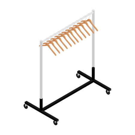 Empty clothing wardrobe rack with hangers isometric view isolated on white background vector Foto de archivo - 154241434