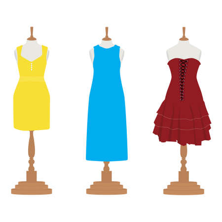 Cute woman dresses on a mannequin. Elegant design lady dress collection. Vector illustration isolated on background