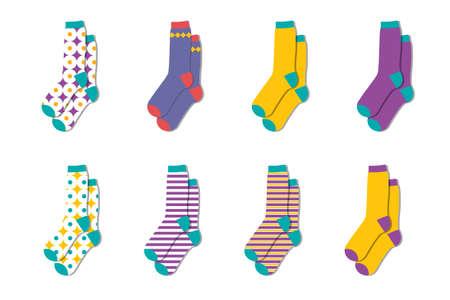 Cute warm colorful socks.Wool winter socks collection. Vector