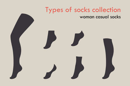 Types of socks collection. Invisible, extra low cut, low cut, quarter, mild calf, knee high, over knee and thig high socks. Foto de archivo - 154241445