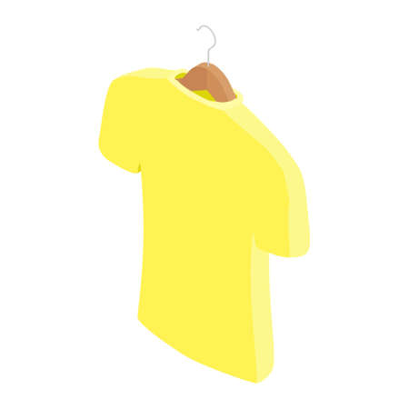 Yellow t-shirt on hanger, clothes on isolated white background. Vector. Isometric view