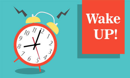 Alarm clock red wake-up time isolated on background in flat style. Vector illustration Foto de archivo - 154241450