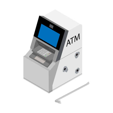 Theft concept - thief stealing money from ATM crime scene. Damaged ATM with bullet holes and crowbar. Vector Foto de archivo - 154241458