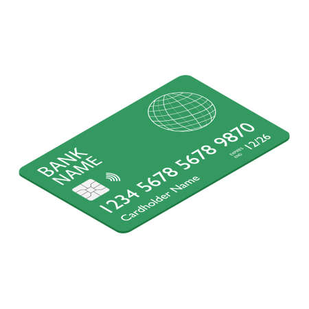 Green bank credit debit card isometric view isolated on white backgound