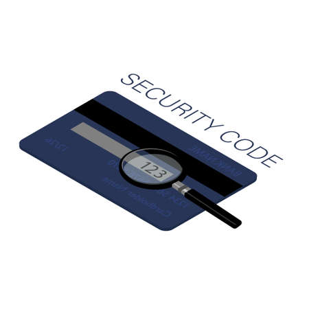 CSV security code is located on a typical credit card.  Back side of the credit card with CVV security code. Isometric view Foto de archivo - 154241463