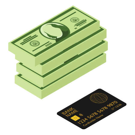 Black bank credit debit card and cash dollars isolated on white background. Payment methods, cash-out, smart investment, business, cash withdrawal, business, online payment concepts.