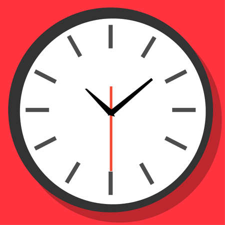 Clock icon in flat style, timer on color background. Vector design element Foto de archivo - 154241479