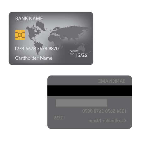 Realistic detailed credit cardsset with colorful abstract design background. Front and back view