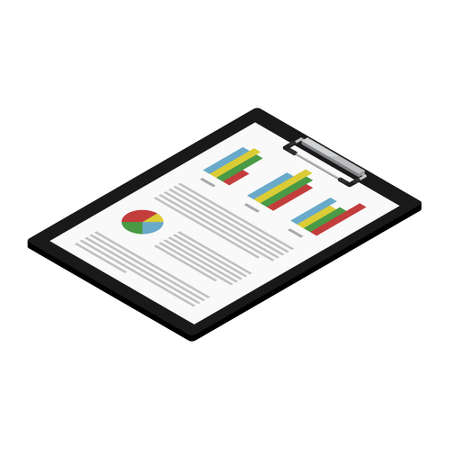 Report, business report with graphs on black clipboard. Report icon isometric view. Vector