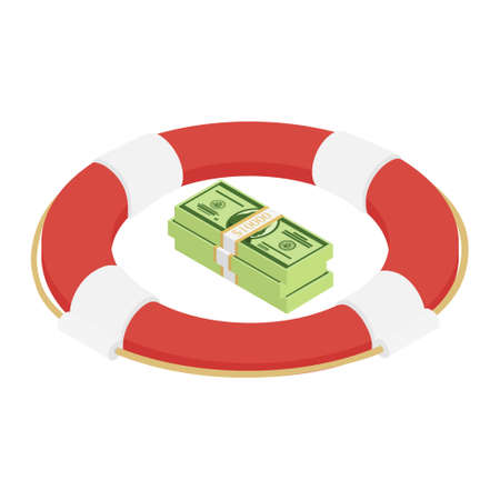 Life buoy with dollars banknotes isometric view. Vector Foto de archivo - 154241485