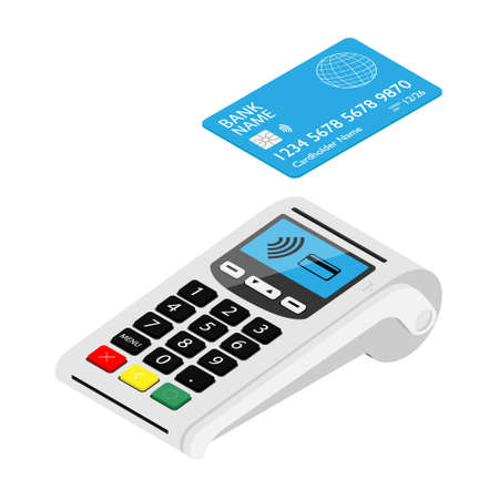 New smart POS terminal payment machine with bank credit card isolated on white background. Bank Payment Terminal. Processing payment device. Isometric view