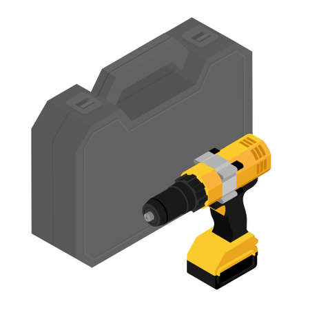 Plastic tool box and cordless drill isolated on white background isometric view. raster
