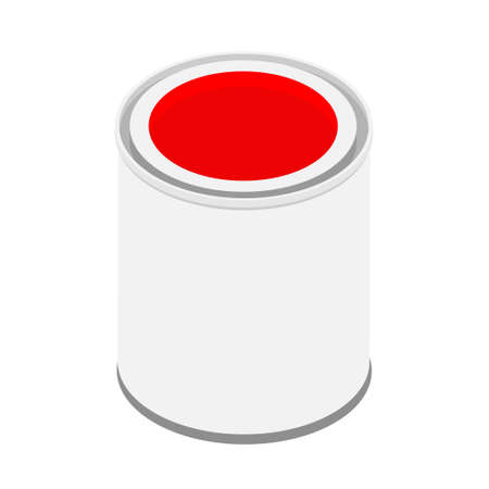 Metal paint can with red paint raster isometric view isolated on white background