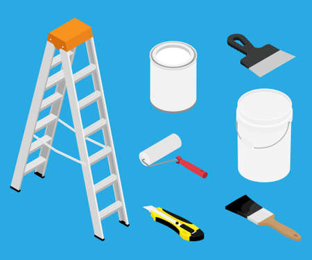 Tools and paints for making repair in flat isometric view. Ladder, metal paint can, plastic bucket, paintbrush, roller and putty knife Foto de archivo