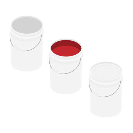 White plastic bucket set with red color paint isolated on white background isometric view