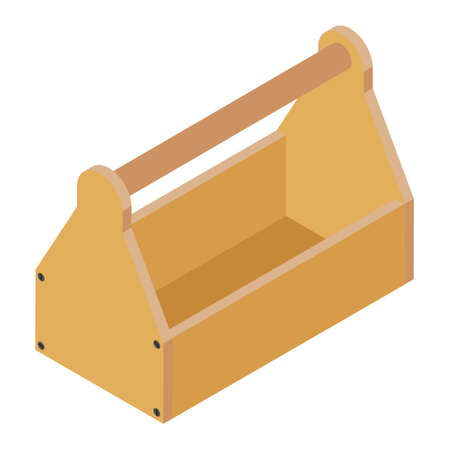 Old empty carpenter wooden toolbox isolated on white isometric view. Foto de archivo - 154537969