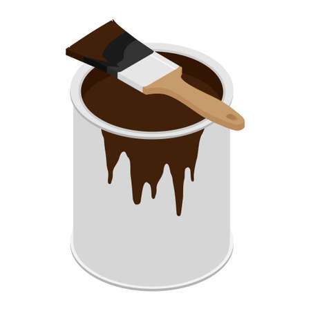 Metal paint can with brown paint and paintbrush with wooden handle raster illustration