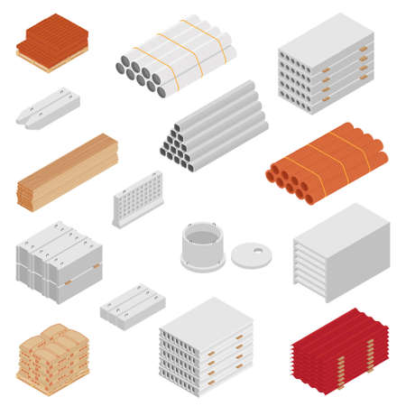 Building and construction materials raster icon set isometric view isolated on white background. Foto de archivo - 154537973
