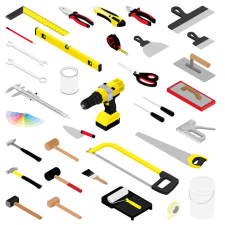 Collection of diy hand tools isolated on white background isometric view