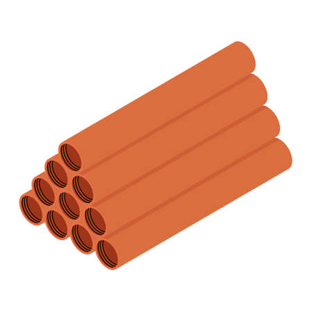 Stacked orange sanitary pvc pipes isolated on white background isometric view Foto de archivo - 154537987