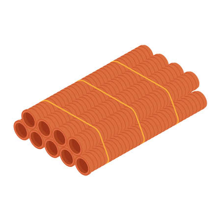 Stacked orange sanitary pvc pipes isolated on white background isometric view
