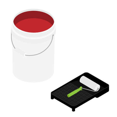 White plastic bucket with red color paint and paint roller isolated on white background isometric view Foto de archivo