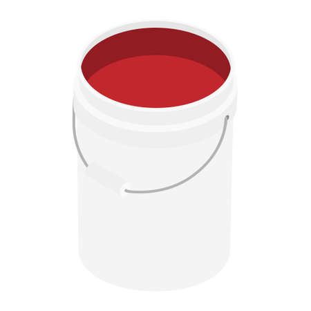 White open plastic bucket with red color paint isolated on white background isometric view